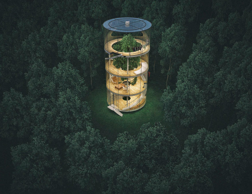 tubular-glass-tree-house