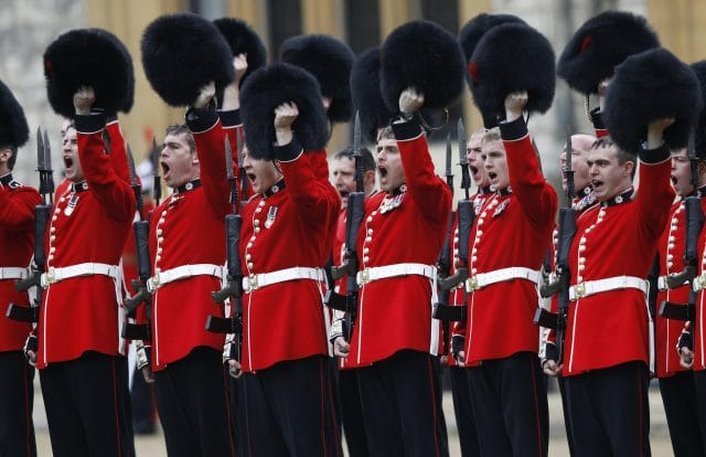 Queen Elizabeth II And The Duke Of Edinburgh Present Colours To 1st Battalion And 7 Company The Coldstream Guards