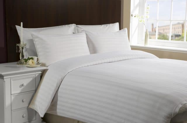 white_satin_stripe_bedding_flame_retardant