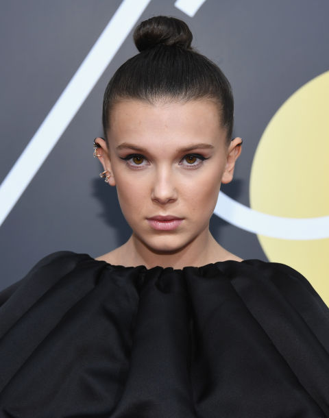 millie-bobby-brown-in-bun-and-black-dress-at-the-golden-globes